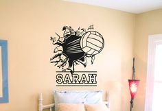 Wall Decal Vinyl Sticker Decals Art Decor Design Volleyball Ball Player Sport Game Girl Team Beach Custom Name Dorm Bedroom Fashion Please Message Your Custom Name After Order! Wall Stickers Sports, Wall Stickers Murals, Vinyl Wall Decals, Volleyball Posters, Volleyball Ideas, Volleyball Quotes, Volleyball Gifts, Volleyball Bedroom, Decoration