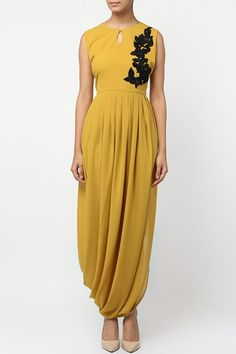 for this Tailer fit designer wear Drape Gowns, Draped Dress, Frill Dress, Western Dresses, Indian Dresses, Indian Wedding Gowns, Mustard Yellow Dresses, Simple Gowns, Saree Gown