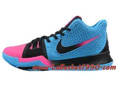 pretty nice 23733 e86fb Nike Kyrie 3 ID Chaussures de BasketBall Pas Cher Pour Homme Noir Bleu Rose