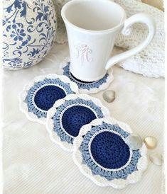 Top class crochet handmade Cup Coaster Useful Ideas Crochet Coaster Pattern, Crochet Flower Patterns, Crochet Motif, Crochet Doilies, Crochet Stitches, Diy Crochet Flowers, Crochet Crafts, Yarn Crafts, Crochet Projects