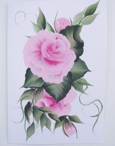 Hand Painted Pink Rose Greeting Card by KarenUnderwoodArt on Etsy