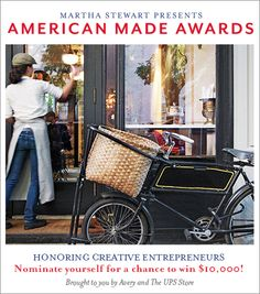 Are you a creative entrepreneur? Enter the Awards for a chance to appear in Martha Stewart Living Magazine. I think American made is great. Support your fellow Americans. Go Martha for encouraging Made in America. French Bistro, Cafe Shop, We Are The World, West Village, Hipster, New York, Made In America, France, American Made