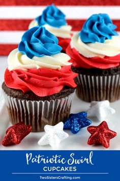 Patriotic Swirl Cupcakes - This easy to make red white and blue cupcake recipe is perfect for a 4th of July party or Memorial Day barbecue and tastes amazing. These yummy 4th of July treats feature our Best Buttercream Frosting in patriotic colors and they are sure to become your go-to 4th of July dessert. Pin this 4th of July Cupcake for later and follow us for more great 4th of July food ideas. #4thofJuly #fourthofjuly #4thofJulyTreats #4thofJulyCupcakes