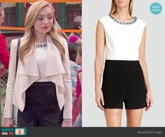 Emma's black and white embellished romper on Bunk'd.  Outfit Details: http://wornontv.net/50833/ #Bunkd