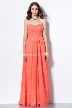 orange strapless sweetheart neck crisscross long #chiffonbridesmaiddress