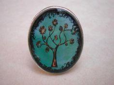 anillo resina ovalado árbol  resina,zamak con baño de plata resina
