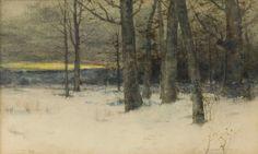 Charles Warren Eaton, Winter Landscape, watercolor, 10 x 22
