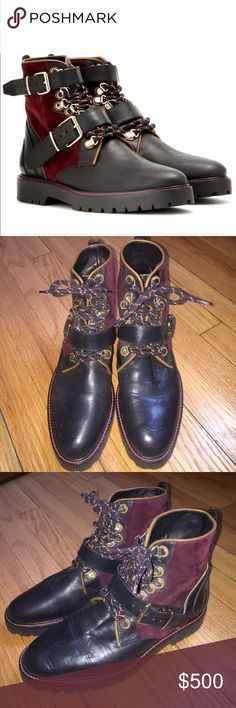 Burberry Britt 'hiking' boots Burberry Britt Utterback lace up leather hiking boots. In EUC only worn a few times. Will package very well when sent out. I do not have original box. The top buckles were not with the shoes when I bought them. I have received many compliments for them. Size 38. The left ankle has slight leather lift. See pic. Burberry Shoes Combat & Moto Boots