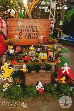 Snoopy & Charlie Brown - tema para festas infantis. Detalhes de uma decoração linda.