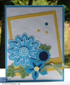 Flower PatchPaper and Ink ◾Whisper White Card Stock ◾Tempting Turquoise Card Stock (Ink ◾Wild Wasabi Card Stock Ink ◾Daffodil Delight Card Stock Ink ◾Night of Navy Card Stock (100867); Ink Accessories ◾Large Polka Dot Embossing Folder ( ◾On Film Framelits ◾Flower Fair Framelits ◾Big Shot ◾Crystal Effects ◾Blendabilities – Old Olive Assortment ◾Blendabilities – Daffodil Delight Assortment Stampin' Dimensionals ◾Wild Wasabi Ribbon –