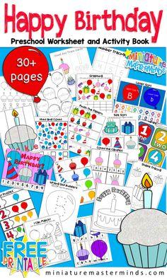 Happy Birthday Themed Preschool Workbook