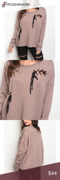 Jocelyn Oversized Knit Mauve Sweater Long sleeve light weight knit sweater top that features a rounded neckline and lace up details. Sweaters