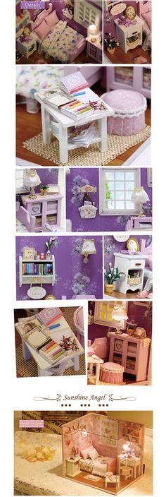 DIY Dollhouse Miniature Furniture Sunny Dorm House Shadowbox Kit