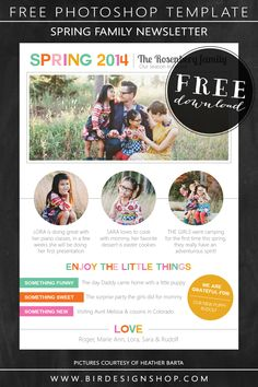 Spring family newsletter - free photoshop template | Photoshop templates for photographers by Birdesign