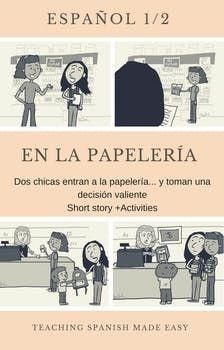 Spanish Short Story- Ar verbs, school supplies, classes, Infographic, Activities