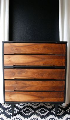 Mid century modern tallboy chest stained two-tone | Painted furniture DIY ideas | Honey of California ZINE