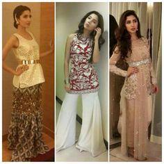 Mahira Khan wearing Remaluxe and Elan for her movie promotions Shadi Dresses, Prom Dresses, Formal Dresses, Mahira Khan, She Movie, Sharara, Bliss, Sequin Skirt, Designers