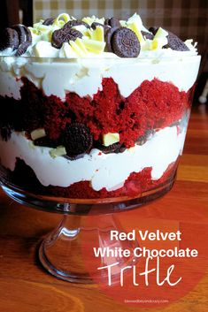 Red Velvet White Chocolate Trifle (GF option) - this delicious trifle is easy to make and a fabulous dessert that you can serve for any occasion. #blessedbeyondcrazy #trifle #redvelvet