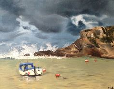"""Safe harbour, Lulworth Cove.  A stormy day with blustery winds and big waves - perfect for walking, with a thick coat, scarf and mittens! Despite the crashing waves, one lonely boat sits safely, gently bobbing in the middle of the circular cove.   Oil on gallery wrap deep box canvas, 10 x 8"""" (25 x 20cm), varnished and ready to hang. Available through Etsy -  www.etsy.com/shop/SallyPrendergastArt"""