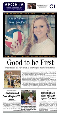 In another first, Pope John Paul II's Geena Bevenour was named The Mercury's Volleyball Player of the Year. Read about Geena here: http://www.gametimepa.com/mont-bucks/ci_24793406/girls-volleyball-pjps-bevenour-becomes-first-ever-all