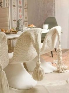 Knitted chair covers look surprisingly amazing