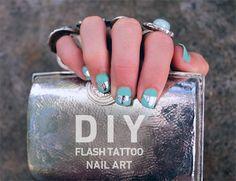 Flash-Tattoo Nail Art.  http://blog.swell.com/diy-flash-tattoo-nail-art