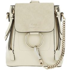 Chloé Shoulder Bag - Faye Backpack Off White - in beige - Shoulder Bag... (4,740 PEN) ❤ liked on Polyvore featuring bags, handbags, shoulder bags, beige, beige backpack, chloe shoulder bag, handbags shoulder bags, handbag backpack and shoulder hand bags