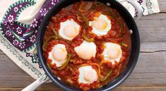 Menemen, a traditional Turkish dish often features scrambled eggs. Our version uses poached - view the recipe and try it today. Bbc Good Food Recipes, Egg Recipes, Brunch Recipes, Cooking Recipes, Breakfast Recipes, Menemen Recipe, Turkish Eggs, Turkish Recipes, Ethnic Recipes