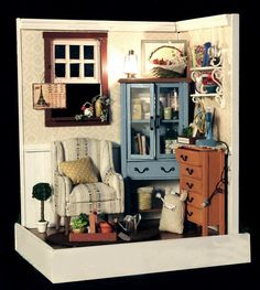 Dollhouse Miniature Model 1 DIY House with Furniture, Accessories Lighting