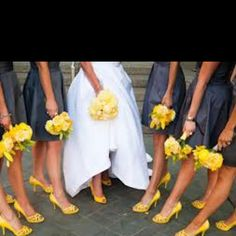 Wedding pic ideas- this with the pink bouquets and shoes