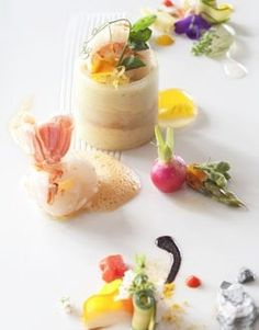 Langoustine Mousse with Baby Langoustine and Star Anise Scented Lobster Bisque Lobster Bisque, Star Anise, Mousse, Panna Cotta, Seafood, Mosaic, Restaurant, Ethnic Recipes, Baby