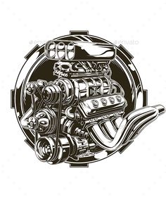 Cool Detailed Hot Road Engine with Skull Tattoo — JPG Image #vehicle #skull • Available here → https://graphicriver.net/item/cool-detailed-hot-road-engine-with-skull-tattoo/17692521?ref=pxcr