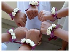 Wedding corsages. Wow- I really like this for a different alternative to corsages for the moms and grandmas. It looks more like a bracelet!