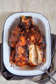 Easy whole Tandoori roast chicken - Roasted Chicken Rosted Chicken, Tandori Chicken, Whole Roasted Chicken, Stuffed Whole Chicken, Roast Chicken Marinade, Roast Chicken Recipes, Whole Chicken Recipes Oven, Whole Roast Chicken Recipe, Indian Food Recipes