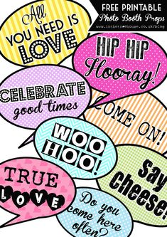 blog free printable photo booth speech bubble props wedding party by In the Treehouse