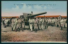 Souge Gironde France Military camp cannon WWI ww1 war original c1915 postcard