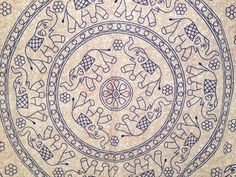 Blue and Beige Elephant Mandala. Indian wall decor by theBilvatree