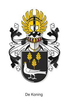 De familie De Koning komt uit Oirschot (symbool: de eikenbladeren) en heeft zijn naam te danken aan het feit dat ze goede schutters waren: de koningspapegaai.