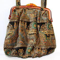 Vintage Carpetbags of America Velvet Handbag Purse