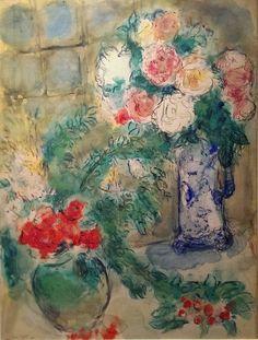 Marc Chagall Les Deux ouquets C Most Famous Paintings, Famous Art, Chagall Paintings, Chaim Soutine, Tachisme, Christian Symbols, Marc Chagall, Art Academy, Art Institute Of Chicago
