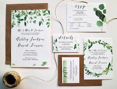 Questa suite di invito di nozze bella verde è perfetta per la sposa capricciosa ma contemporanea. Questi inviti specifici hanno disegni fatti da foglie di acquerello dipinto a mano tra cui 4 tipi di eucalipto, salvia e alloro in modo splendidamente sono stampati su carta per 300gr