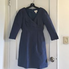 J crew taffeta dress, size 4  2016 SALE!!  3/4 sleeve taffeta dress in excellent condition. Worn only twice.  Color is a dusty blue - lovely! J. Crew Dresses