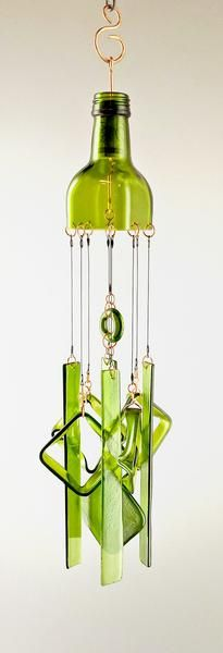 19 x 5, 13 oz.  Where's the salad?   This one-of-a-kind glass art is made from a green glass bottle.  Perfect for a sunny window or a garden, this glass mobile