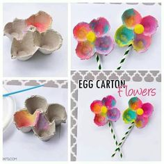 Colorful Egg Carton Flowers for preschool spring craft Mothers Day Crafts For Kids, Spring Crafts For Kids, Spring Projects, Diy For Kids, Preschool Crafts, Easter Crafts, Holiday Crafts, Kids Crafts, Arts And Crafts