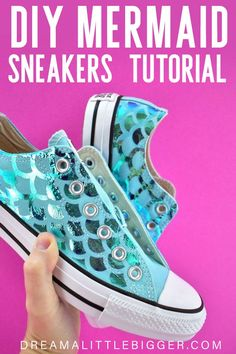 See how to make a pair of sneakers complete with shiny scales, perfect for any mermaid! Mermaid Shoes, Mermaid Diy, Diy Projects For Adults, Cool Diy Projects, Craft Projects, Creative Activities For Kids, Creative Ideas, Shoe Makeover, Amigurumi