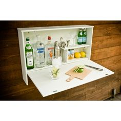 Loll Designs Wallbanger - Outdoor wall-mounted bar for your patio or backyard. Perfect for cocktails parties! So easy to make. I would need to make mine bigger.