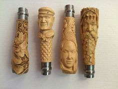 Hand Carved Walking Sticks, Walking Sticks And Canes, Walking Canes, Cane Handles, Knife Handles, Opinel Knife, Glass Pipes And Bongs, Antler Art, Wood Knife