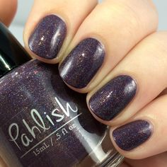 Pahlish - Bespoke Batch - Crescent Moon.  A dusky purple holo with multiple types of copper shimmer.