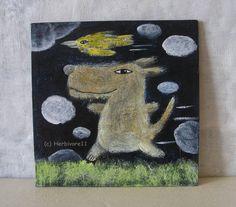 SAUSEWIND - Nr. 2 von Herbivore11 Unikat Comic Inchie Minibild Hund Vogel süß | eBay