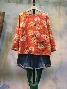 Flowers Print Back Bowknot Cotton Linen Blouse Loose Chinese Clothes  #Chinese #flowers #print #red #spring #bowknot #blouse #top #loose #plussize #large